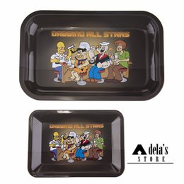 Wholesale Rolls Storage - Metal Tobacco Rolling Tray M 27.5*17.5*2.3cm S 18*12.5*1.3cm Handroller Rolling Trays Cigarette Case Tools Storage Smoking 003