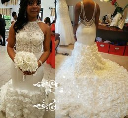 Wholesale Online Wedding Dress Bridal Gown - Luxury African 3D Flowers Mermaid Wedding Dresses Online 2017 Backless Beaded Sequins Plus Size Nigeria Arabic Bellanaija Women Bridal Gowns