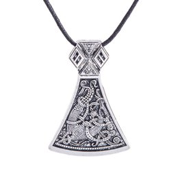 Wholesale Engraved Pattern - Mammen Gothic Viking Axe Necklace Scandinavian Norse Engraved Special Special Symbol Pattern Viking Pendant Vintage Women Jewelry