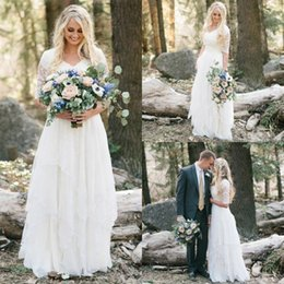 Wholesale White Simple Informal Wedding Dresses - 2017 A-line Bohemian Long Modest Wedding Dresses With Sleeves Lace Chiffon Floor Length V Neck Sheer Sleeve Informal Beach Wedding Gown