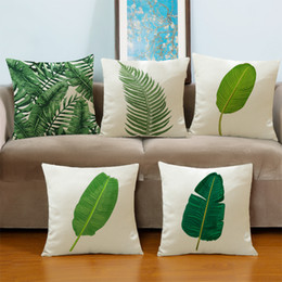 Wholesale Banana Cushion - 18x18 Inches linen and cotton pure and fresh banana leaf printing cushion cover household Wedding gift