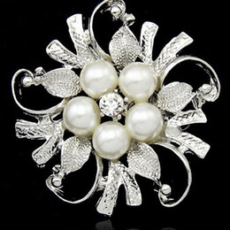 Wholesale Vintage Round Brooches - Brooches For Wedding Bijoux Wedding Broches Fashion Vintage Women pearl Brooch Clear Crystal Flowers Silver Gold Brooches Pins