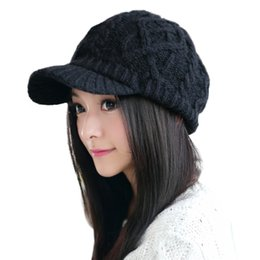 Wholesale Hat Newsboy Visor - Wholesale- Siggi Women Wool Knitted Cabbie Duckbill Newsboy Cap Gatsby Autumn Winter Hat with Visor for Lady