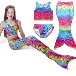 Wholesale tankini swimsuits shorts - Big Girls dots rainbow mermaid tankini 3pc set vest top+shorts+maxi mermaid skirt kids mermaid princess cosplay costume girls swimsuit