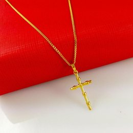 Wholesale Cross 24k Gold Necklace Chain - 2017 New Fashion 24k Gold Plated Jewelry Gold Cross Pendant Necklace Solid Gold Plated Christian Necklace Jewelry