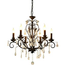 Wholesale Wrought Iron Chandelier Crystals - Chandelier Lighting Vintage Rustic Wrought Iron Chandelier Wedding Decoration Black Led Crystal Chandeliers 6 8 light E14 Led Lamp