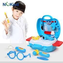 Wholesale Pretend Play Kids - NUKied 18pcs Doctor Pretend Play Toys Set Kids Educational Medical Equipment Box With Light Sound Baby Role Pretend Classic Gift