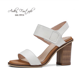Wholesale Chunky Sandals Girls - New 2017 summer shoes for woman genuine leather white black casual sandals chunky heel high heels ankle wrap women shoes girls fashion