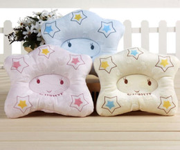 Wholesale Pillows Star Design - 2017 CCOLING BABY STAR DESIGN pillows cotton printing three color0-12m in summer season used 5pcs LOT NECK PROTECTION PILLOWS WHOLESALE