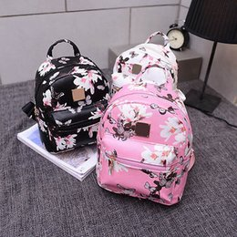 Wholesale Leather Travel Bags Wholesale - Wholesale- Grace Ladies Backpack Travel PU Leather Floral Butterfly Print Rucksack Shoulder School Bag Black Pink White
