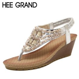 Wholesale Wholesale Rhinestone Flip Flops Shoes - Wholesale- HEE GRAND Summer Wedges Sandals With Rhinestone Crystal Female Fashion Sexy Bling Platform Flip Flops Casual Shoes Woman XWZ896
