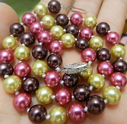 "Wholesale Multicolor Shell Pearl Necklace - Free Shipping >>>>AAA+ 8mm 18"" south sea Multicolor shell pearl necklace"