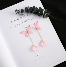 Wholesale Designer Handmade Earrings - Fairy Butterfly Wings Long Earrings Pink New Fashion Women Vintage Jewelry Bling Designer Handmade Shell Pear Dangle jewery