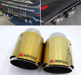 Wholesale Exhaust 76mm - 2 x Akrapovic Golden Stainless Steel Exhaust Tip Ak Muffler pipe ID:63mmOD:76mm