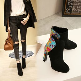 Wholesale National Trend Boots - 2017 autumn and winter women's boots embroidery flowers high heels national trend nubuck leather female shorts boots velvet small size