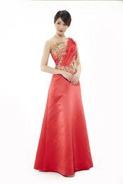 Wholesale Silk One Shoulder Long Dress - Spring New Fashion Single Shoulder Red Bead Silks Long Dance Evening Dresses Banquet Dresses Bridal Gown