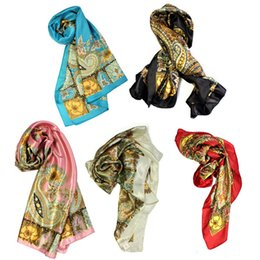 Wholesale Red Black Silk Scarf White - Wholesale-1PCS Women Classical printing Pattern Large Square Scarf Head Scarves Shawl Wrap silk large square Artificial silk scarves