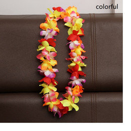 Wholesale Christmas Wreath Decorations Wholesale - Artificial Flowers Wreath Party Decoration Hawaiian Flower Leis Wedding Birthday Christmas Supplies Garland Flower Necklace WA1720