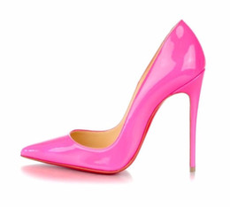 Wholesale Lady Office Sexy - WBP972K Size 34-42 Women 12cm Iron Thin Heels Pink Patent Leather Pointed Toes Sexy Pumps, Ladies Brand Red Bottom Wedding Party Dress Shoes