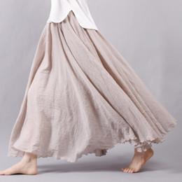 Wholesale Linen Cotton Skirts - Women Linen Cotton Long Skirts Elastic Waist Pleated Maxi Skirts Beach Boho Vintage Summer Skirts Faldas Saia