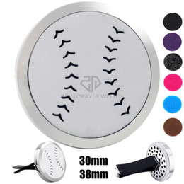 Wholesale Car Magnets Free Shipping - Free Shipping Silver Baseball (30-38mm) Magnet Diffuser Car aromatherapy Locket Essential Oil 316 Stainless Steel Car Diffuser Lockets