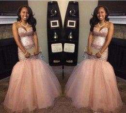 Wholesale Gold Peach Prom Dress - 2017 Peach Blingbling Sequins South Africa Black Girl Backless Mermaid Prom Dresses Sweetheart Backless intage Aso Ebi Evening Gowns