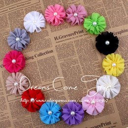 Wholesale Wholesale Fabric Flower Embellishments - (50pcs lot)6.5CM 14 Colors High Quality Artificial Chiffon Ruffled Pearl Center Fabric Flower For Baby Girl Hair Embellishment
