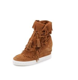 Wholesale Green Hunter Boot - Hot Wedge Suede Fringed Women sneakers Ankle Booties Lace Up Tassel Height Increasing Ladies Short Boots Spring Autumn Heels Casual Shoes