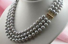 Wholesale Tahitian Black Pearls China - triple strands 8-9 mm natural tahitian Gray pearl necklace 17-19 inch 14k clasp