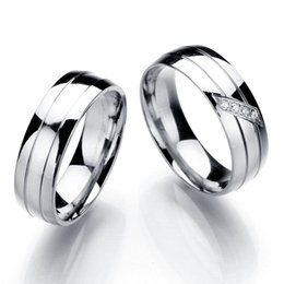 Wholesale Promises Rings For Couples - Fashion Wedding Rings Stainless Steel Rings For Women And Men Promise Ring Cubic Zirconia Couple Jewelry