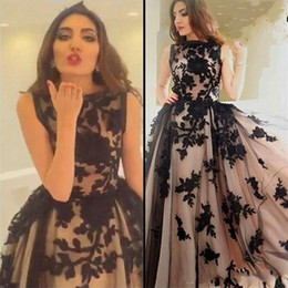 Wholesale Formal Elegant Dresses For Ladies - 2017 hot sale elegant bateau lace applique prom dress floor length tulle illsion sleeveless ball gown formal evening dress for lady
