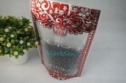 15x22cm, 100pcs / lot autoportant mat transparent ziplock sac impression de fleurs rouges, paquet de pommes séchées Doypack, sacs de stockage de thé vert ? partir de fabricateur