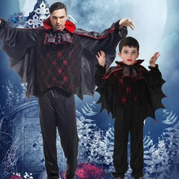 Wholesale vampire bat costumes - 2018 New Bat Vampire Devil Costumes Kids Adults Family Cosplay Costumes Halloween Carnival Fancy Dress Party Decoration