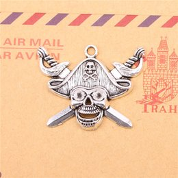 Wholesale Wholesale Craft Cross Charms - 18pcs Tibetan Silver Plated pirate skull and cross swords Charms Pendants for Jewelry Making DIY Handmade Craft 45*34mm