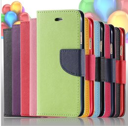 Wholesale Galaxy S3 Luxury Leather Case - Luxury Hit Color Series Leather Flip Phone Case For iPhone 7 Plus 6 6s Plus 5s 4s Samsung Galaxy S3 S4 S5 S6 S7 Edge