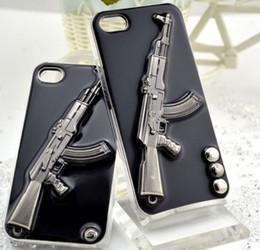 Étuis iphone guns en Ligne-Cas de téléphone de luxe pour Iphone X XR XS MAX 8 7 6 plus 5s PC gel colle métal Housse de protection coque Shell pistolet défenseur cas mode homme GSZ225