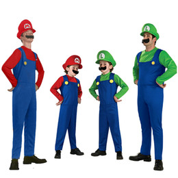 Wholesale red dress costumes - 20 Set Cheap Halloween Cosplay Costumes Super Mario Luigi Brothers Fancy Dress Up Party Cute Costume For Adult Children CS003