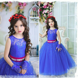 Wholesale Kids Bridesmaid Dresses Beaded - Cute Dark Blue Tulle Prom Dress Little Girls Floor Length Kids Party Pageant Gowns With Sash Beaded Crystals Junior Bridesmaid Dresses