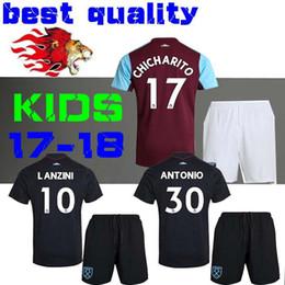 Wholesale West Home - 17 18 West Ham United Kids kits football shirt kids best quality Children Soccer Jersey Lanzini Antonio Carroll BOYS Chicharito home