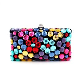 Wholesale Gem Handbags - Wholesale-2016 new arriving design luxury acrylic gem rainbow multicolored diamond evening bag party dinner wedding bride handbag clutch