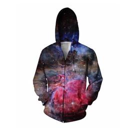 Wholesale Hoody Zip Sleeve - Wholesale-Amazing Lush Galaxy Zip-Up Hoodie Women Men Tops 3d Print Nebula Space Hoody Hoodies Coats Sweat Jumper