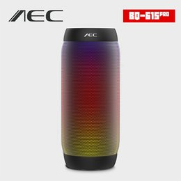 port speakers Promo Codes - Wholesale- AEC BQ-615 PRO HIFI Stereo Speaker Colorful LED Lights Wireless Bluetooth 3.0 3.5mm Audio Port Support NFC Microphone FM Radio