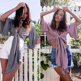 Wholesale Women Ruffled Tank - Summer Sexy Striped Shrits Blouses 2017 Women 3 4 Sleeve Ruffle Sleeve Casual T-Shirts Topes V Neck Blouses Women Fashion Camis Tanks