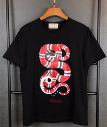 Wholesale Men 3d Tee Shirts - 2017 Wholesale GU tee clothing Men's T-Shirts 3D red Plate snake painting hip hop clothing mens designer shirts plus size black white