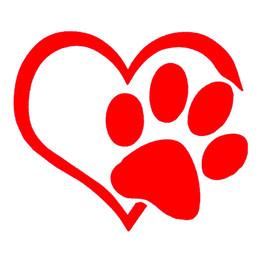 Wholesale wall decals animals - Heart Paw Vinyl Decal Car Sticker bumper window adopt bully Heart cat dog Laptop Boat Truck AUTO Bumper Wall