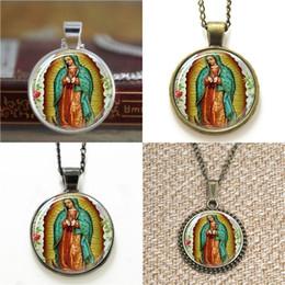 Jungfrau armbänder online-10 stücke Unsere Dame von Guadalupe Jungfrau Maria Religiöse Katholische Halskette schlüsselanhänger lesezeichen manschettenknopf ohrring armband