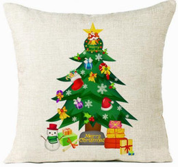 Wholesale xmas bedding - Christmas Tree Pillow Case Plant Pillow Cover Snowman Cushion Cover for Xmas Sofa Home Car Bed Decoration Pillowcase