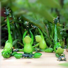 Wholesale Black Art Sculptures - Wholesale- Kawaii Yoga Frogs Figurine Girl's Dream Modern Resin Home Sculpture Dolls Resin Model Odd Gifts Crafts Animal Home Decoration
