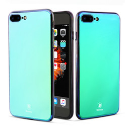 Wholesale Super Slim Mobile Phones - BASEUS Super Slim Multi Protective Back Glass Case For Apple iPhone 7 8 Mirror Cover Mobile Phone Case For iPhone 7 8 Plus