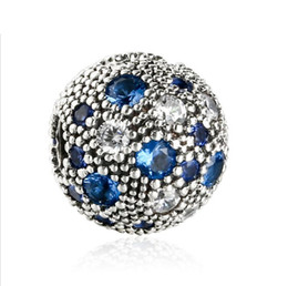 Wholesale Silver Stopper Clip - TopeasyJewelry 2017 Summer New Blue Cosmic Stars Fixed Clip Charm Beads For Jewelry Making 925 Sterling Silver Decorative Stopper Bead